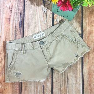 Aeropostale Khaki Distressed Shorts
